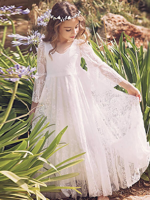 Awesome A-Line V-neck Cut Lace Long Flower Girl Dresses With Ruffles