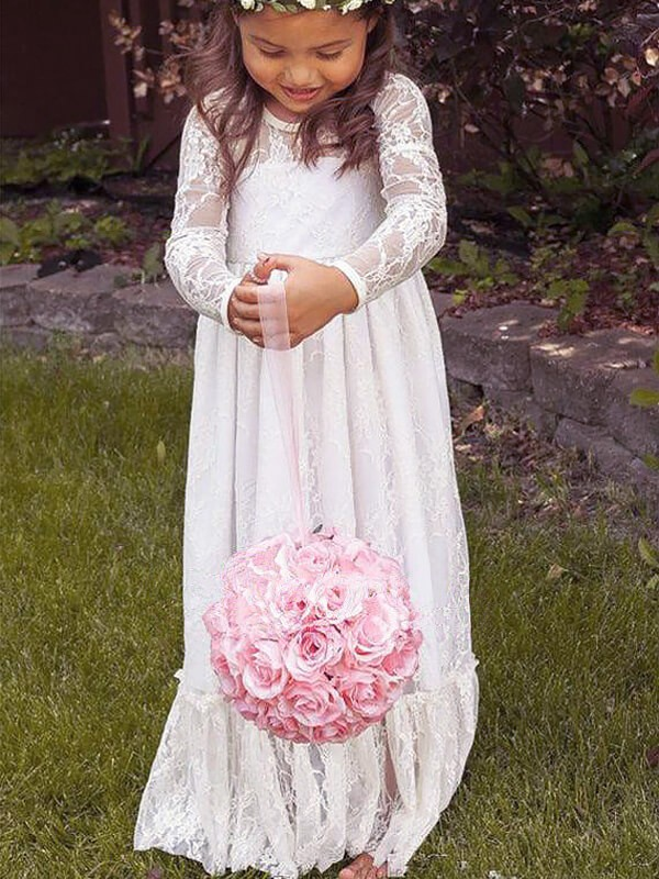 Exquisite A-Line Jewel Cut Lace Long Flower Girl Dresses With Bowknot