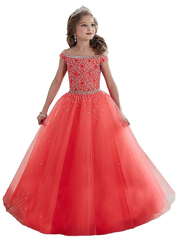 Romantic Ball Gown Off-the-Shoulder Cut Tulle Long Flower Girl Dresses With Beading