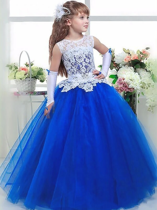 Delicate Ball Gown Jewel Cut Tulle Long Flower Girl Dresses With Lace