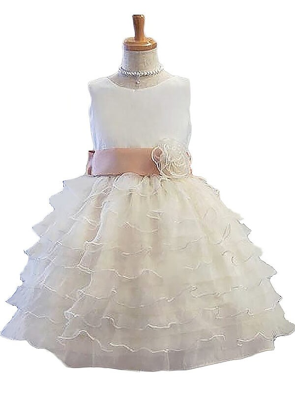 Radiant A-Line Jewel Cut Tulle Short Flower Girl Dresses With Hand-Made Flower