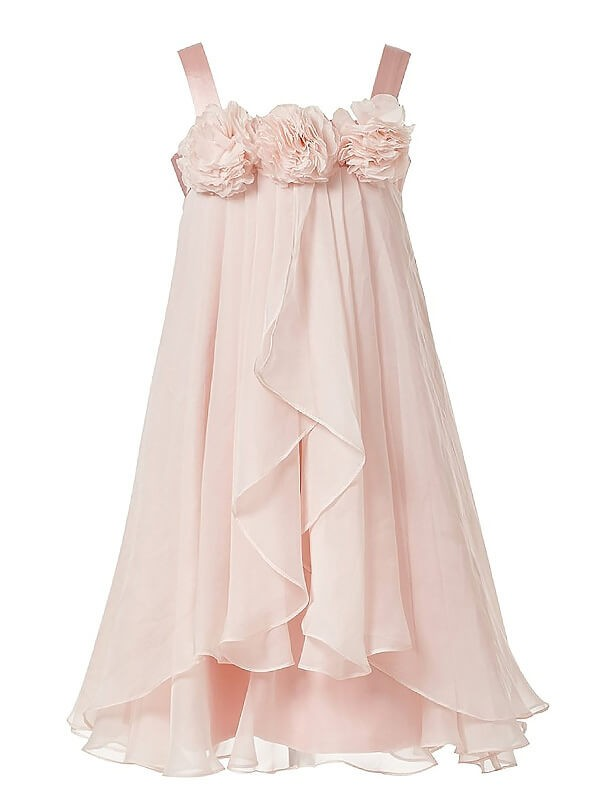 Stylish A-Line Straps Cut Chiffon Long Flower Girl Dresses With Hand-Made Flower