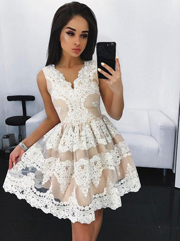 Unique A-Line V-neck Cut Tulle Short Dresses With Lace