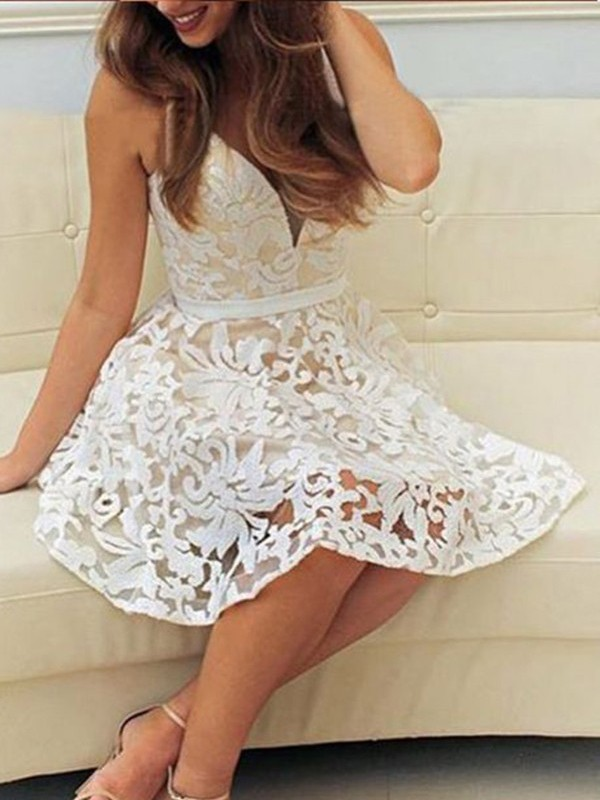 Fashional A-Line V-neck Cut Lace Short Dresses With Ruffles