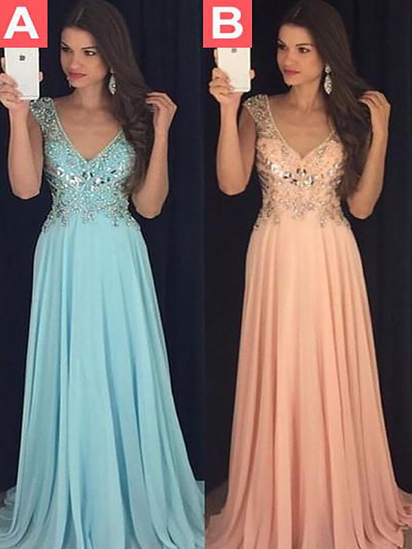 Shining A-Line V-neck Cut Chiffon Long Dresses With Paillette