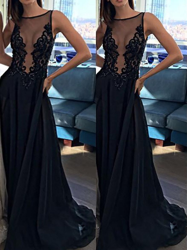 Special A-Line Bateau Cut Chiffon Long Dresses With Applique
