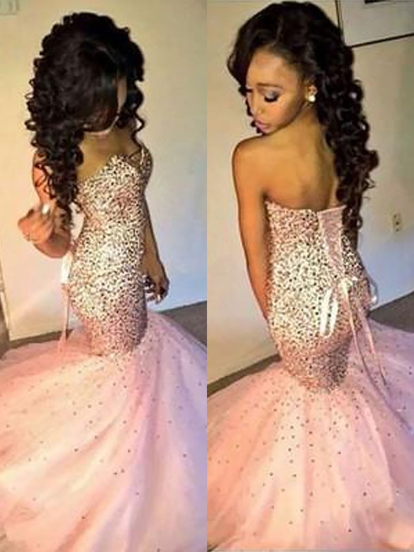 Sweet Mermaid Sweetheart Cut Tulle Long Dresses With Sequin