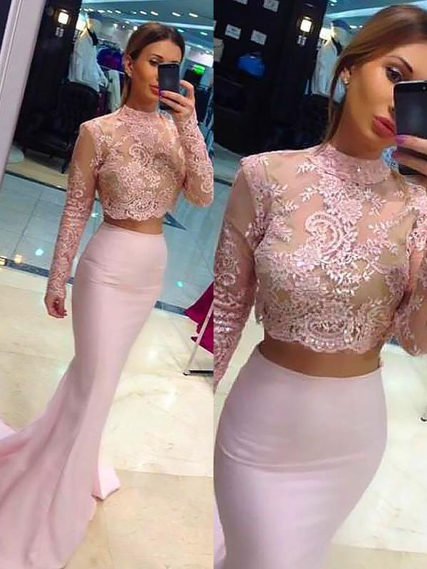 Stylish A-Line High Neck Cut Satin Long Two Piece Dresses With Lace
