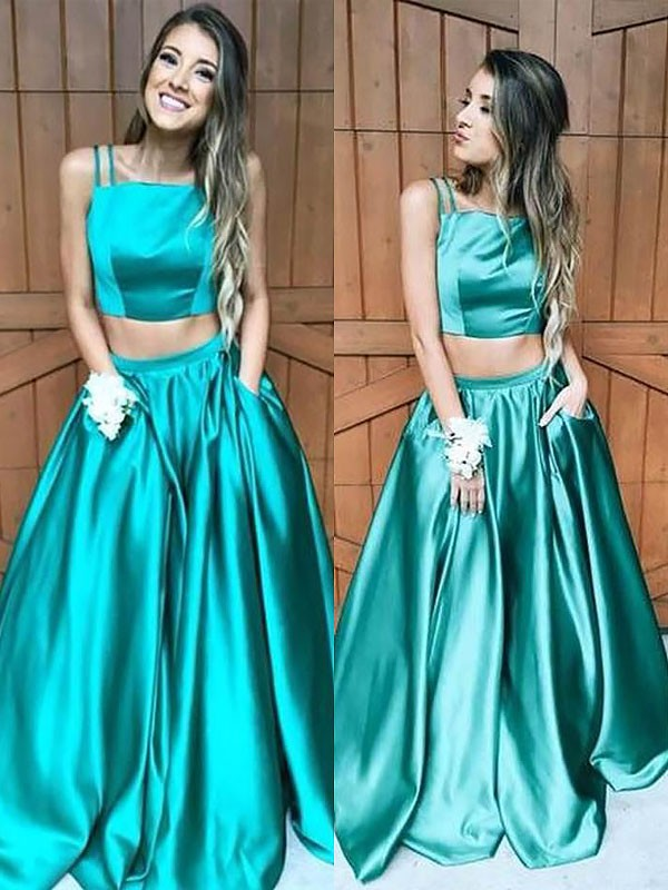 Popular A-Line Square Cut Satin Long Two Piece Dresses With Ruffles