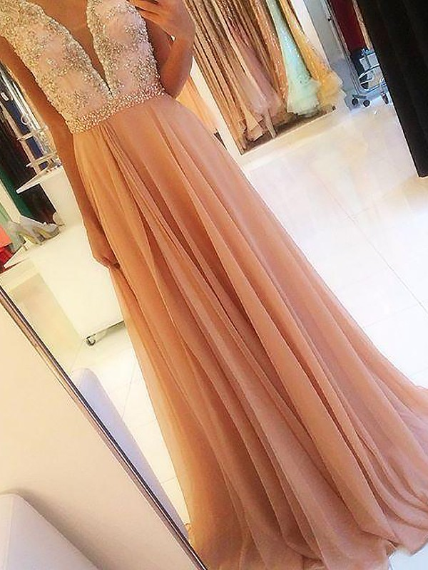 Elegant A-Line V-neck Cut Chiffon Long Dresses With Beading