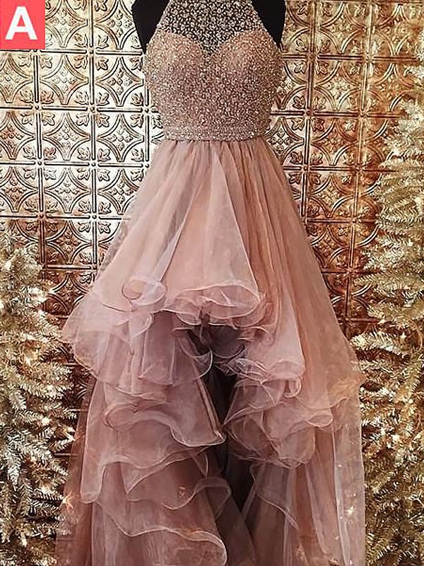 Awesome Ball Gown Halter Cut Tulle High Low Dresses With Beading