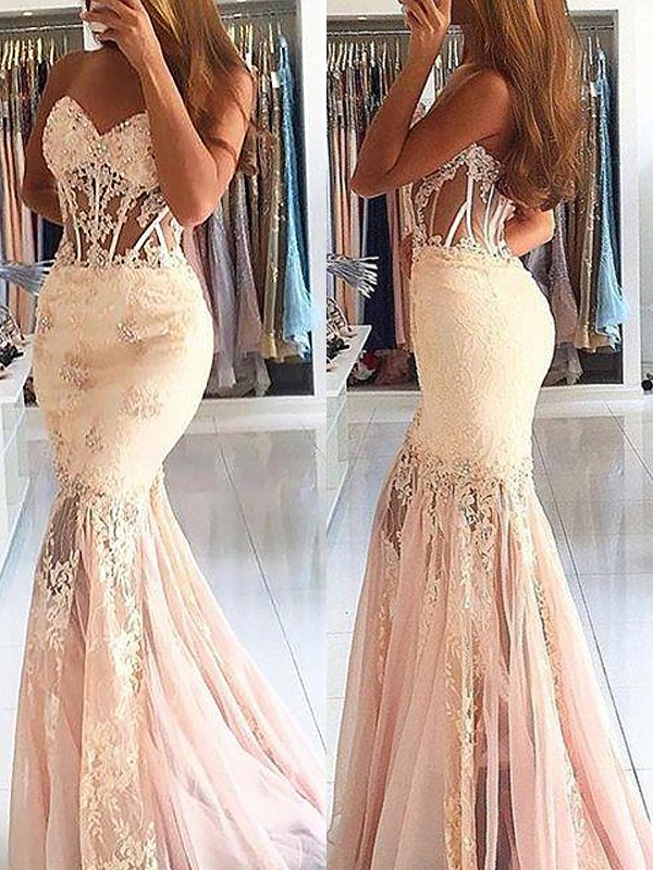 Amazing Mermaid Sweetheart Cut Tulle Long Dresses With Lace