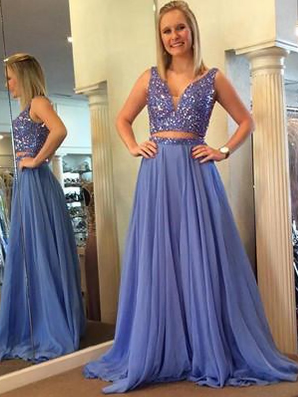 Bright A-Line V-neck Cut Chiffon Long Two Piece Dresses With Beading