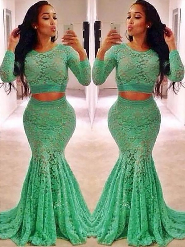 Radiant Mermaid Scoop Cut Lace Long Two Piece Dresses With Ruffles