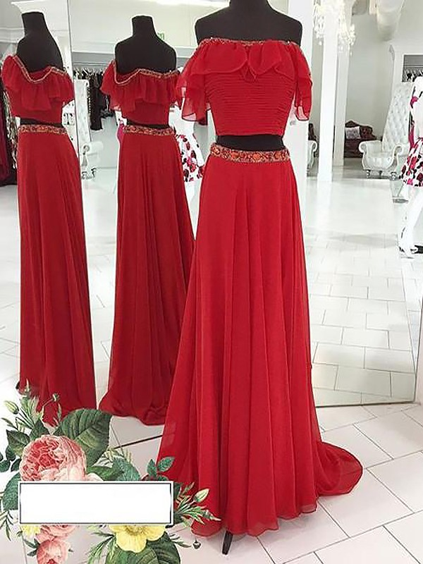Glamorous A-Line Off-the-Shoulder Cut Chiffon Long Two Piece Dresses With Beading