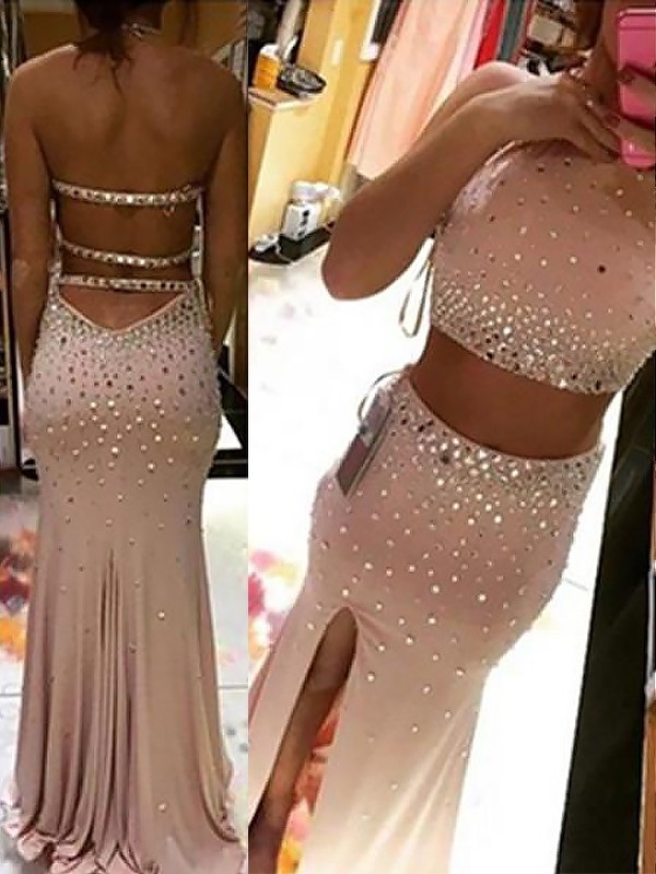 Trendy Sheath Halter Cut Spandex Long Two Piece Dresses With Beading