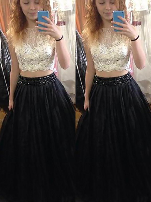 Elegant A-Line Bateau Cut Tulle Long Two Piece Dresses With Beading