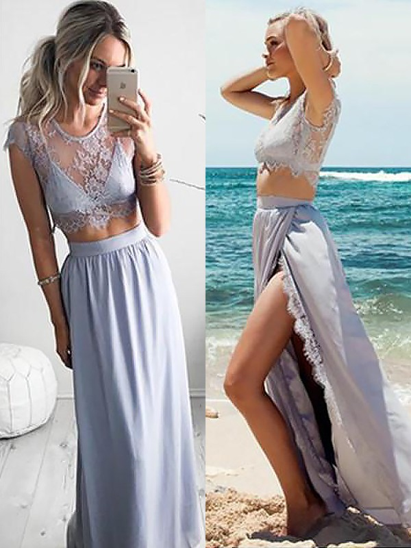Amazing A-Line Jewel Cut Satin Long Two Piece Dresses With Lace