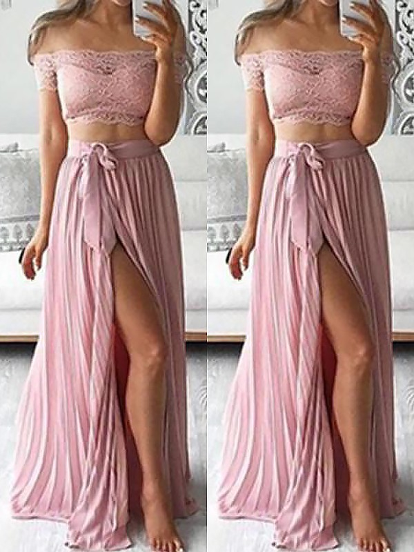 Graceful A-Line Off-the-Shoulder Cut Chiffon Long Two Piece Dresses With Lace