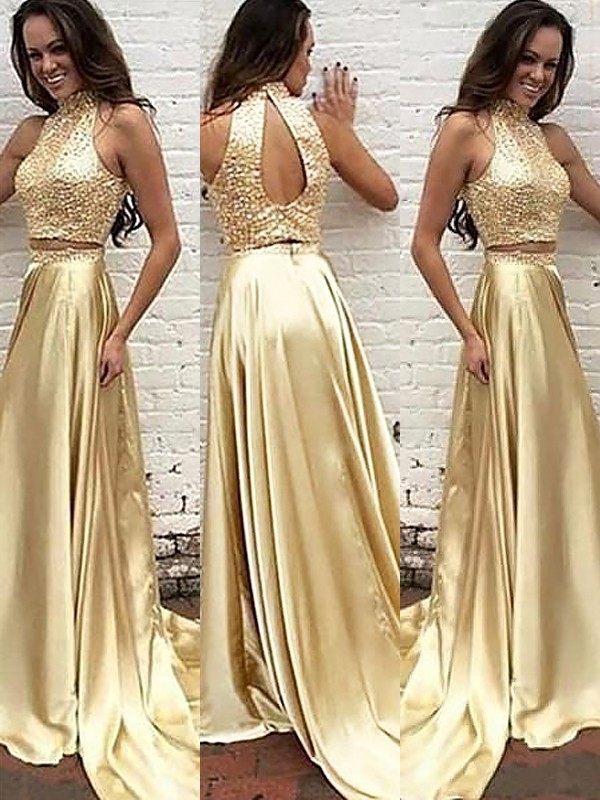 Stunning A-Line High Neck Cut Satin Long Two Piece Dresses With Beading