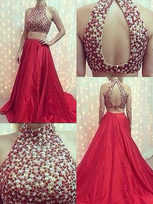 Fashional A-Line High Neck Cut Satin Long Two Piece Dresses With Beading