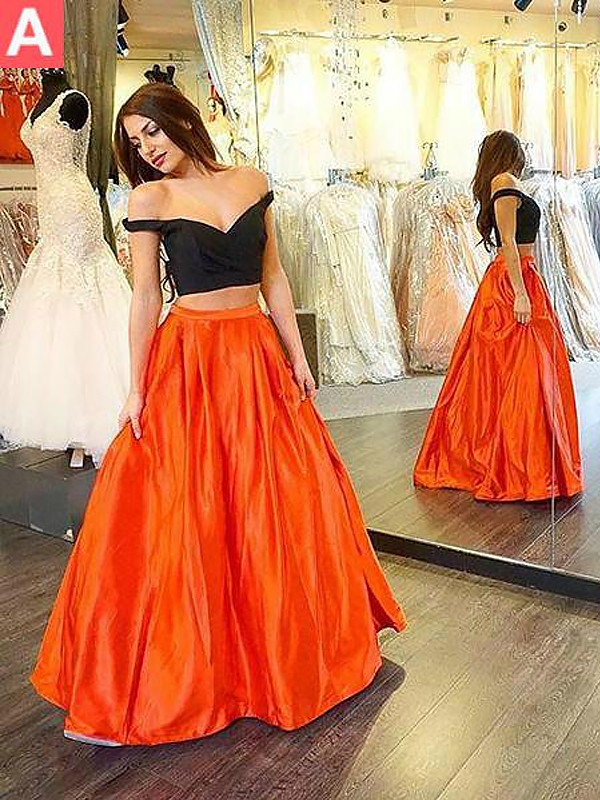 Romantic A-Line Off-the-Shoulder Cut Taffeta Long Two Piece Dresses With Ruffles
