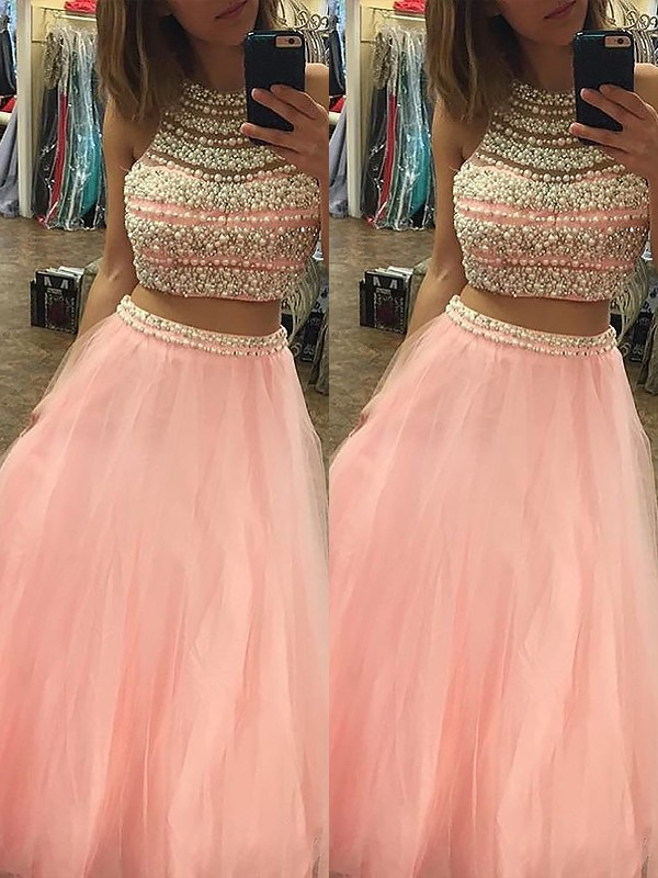 Lovely A-Line Halter Cut Tulle Long Two Piece Dresses With Beading