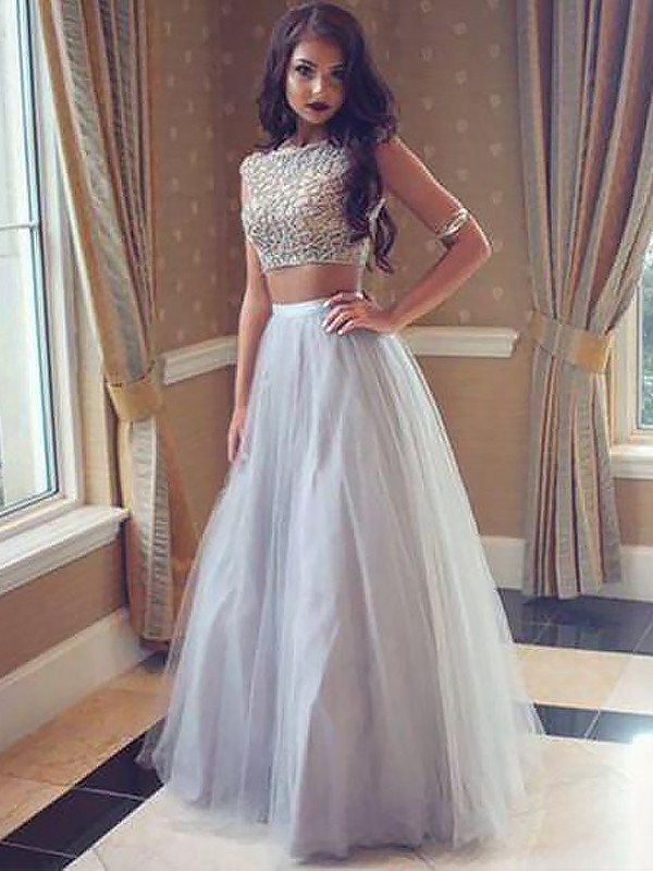 Attractive A-Line Bateau Cut Tulle Long Two Piece Dresses With Beading