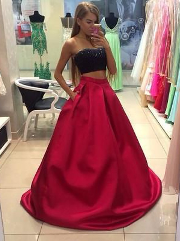 Special A-Line Strapless Cut Tulle Long Two Piece Dresses With Beading