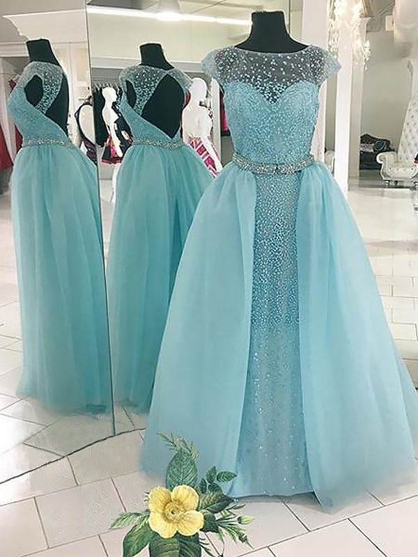 Delicate Ball Gown Bateau Cut Tulle Long Dresses With Beading