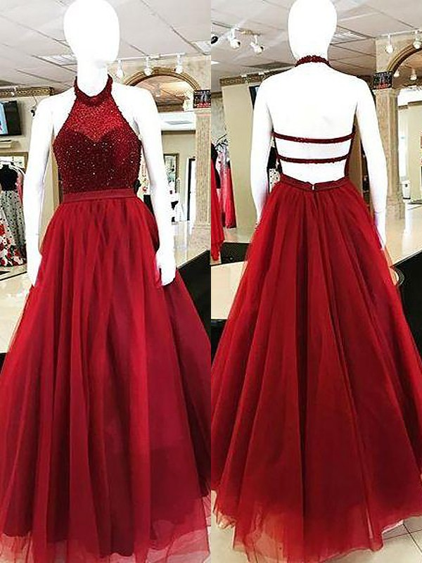 Bright Ball Gown Halter Cut Tulle Long Dresses With Beading