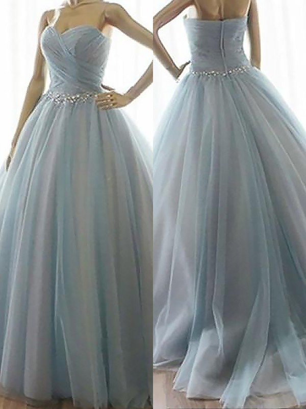 Dreamlike Ball Gown Sweetheart Cut Tulle Long Dresses With Beading