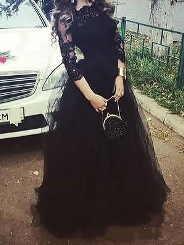 Soft Ball Gown Bateau Cut Tulle Long Dresses With Lace