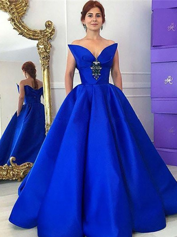 Glamorous Ball Gown V-neck Cut Satin Long Dresses With Ruffles