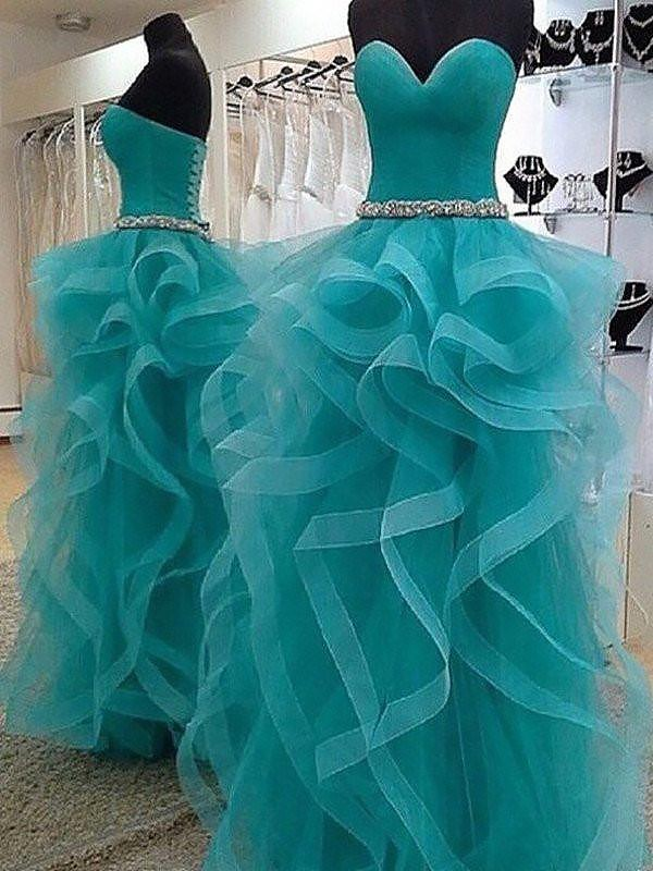 Nice Ball Gown Sweetheart Cut Tulle Long Dresses With Beading