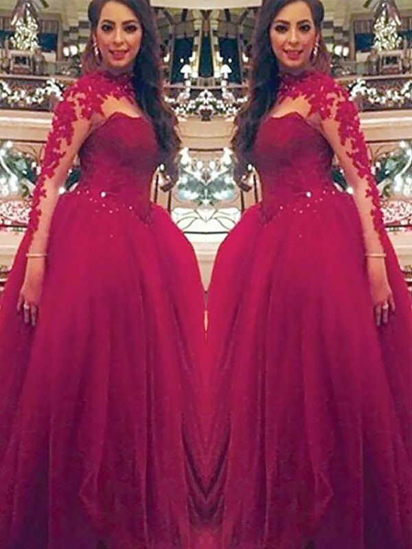 Elegant Ball Gown High Neck Cut Tulle Long Dresses With Applique