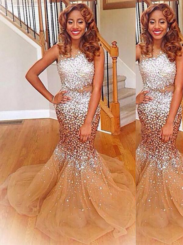 Special Mermaid Bateau Cut Tulle Long Dresses With Sequin