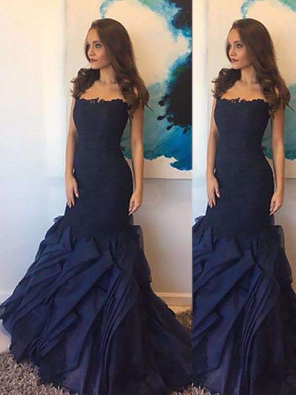 Modern Mermaid Strapless Cut Taffeta Long Dresses With Lace
