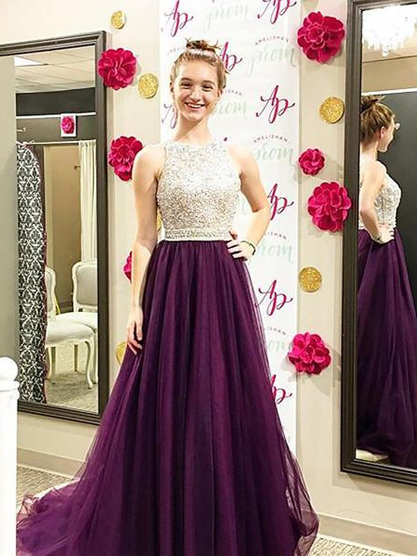 Stylish A-Line Bateau Cut Tulle Long Dresses With Beading