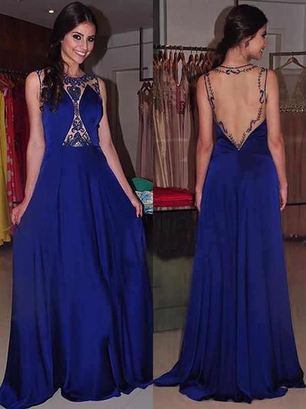 Glamorous A-Line Bateau Cut Chiffon Long Dresses With Beading