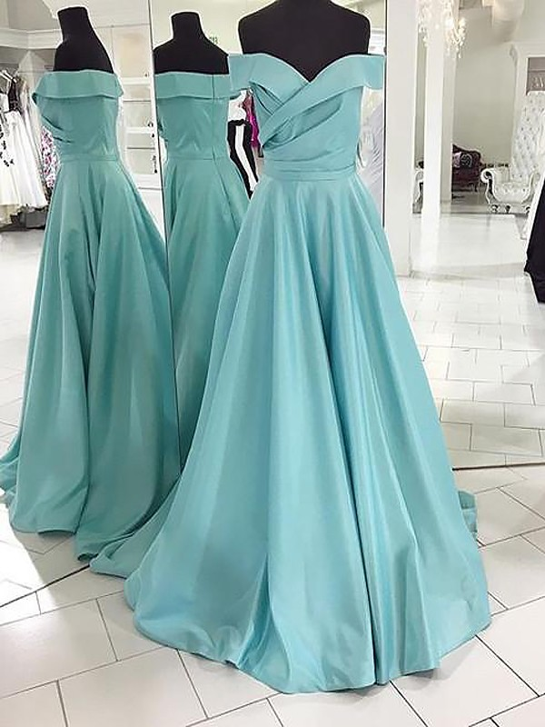 Popular A-Line Off-the-Shoulder Cut Satin Long Dresses With Ruched