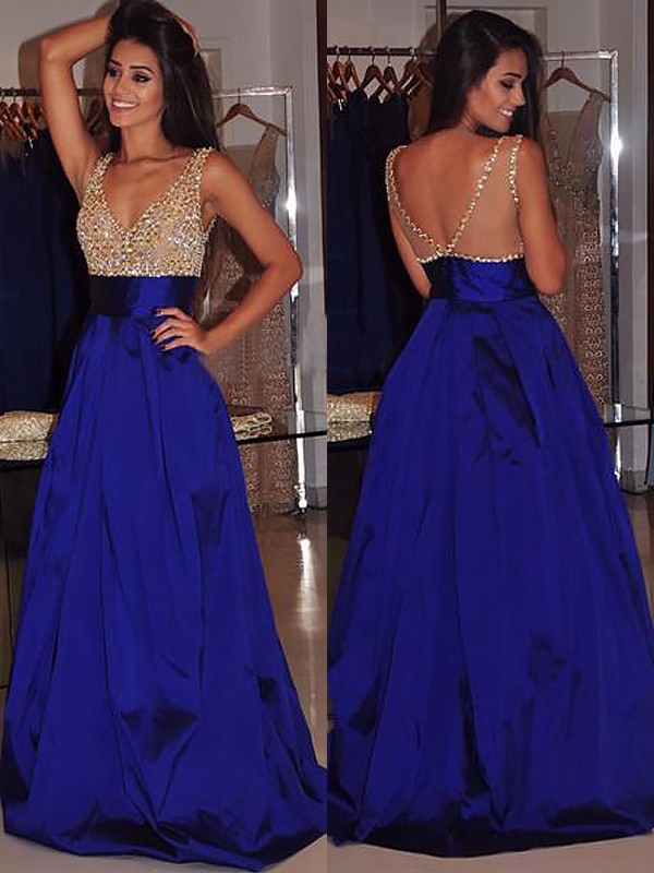 Nice A-Line V-neck Cut Satin Long Dresses With Beading