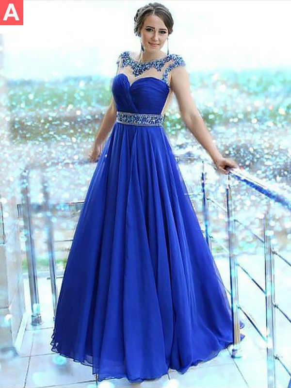 Graceful A-Line Bateau Cut Chiffon Long Dresses With Beading