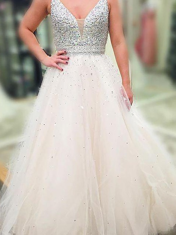 Romantic A-Line V-neck Cut Tulle Long Dresses With Beading
