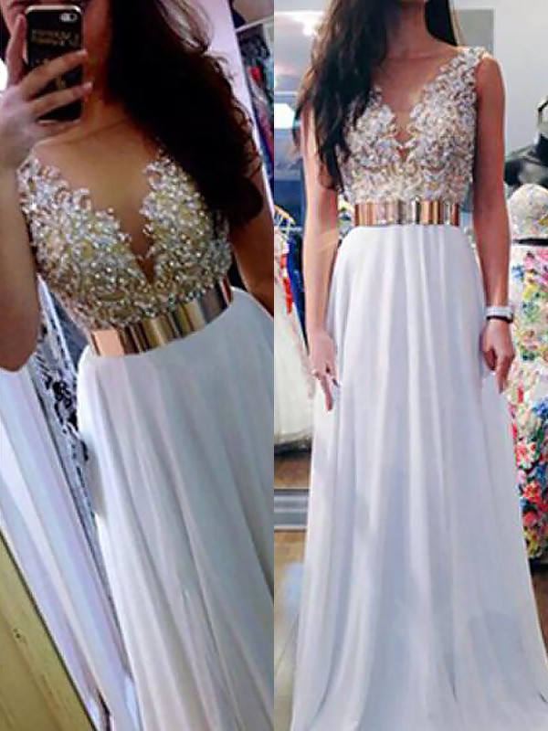 Shining A-Line V-neck Cut Chiffon Long Dresses With Beading
