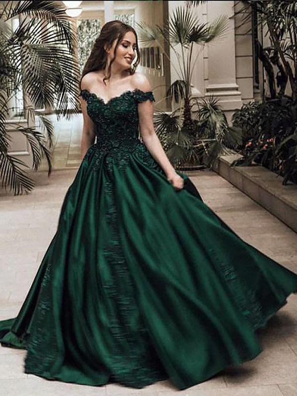 Dreamlike Ball Gown Off-the-Shoulder Cut Satin Long Dresses With Lace