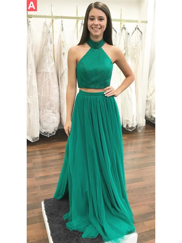 Brilliant A-Line Halter Cut Tulle Long Two Piece Dresses With Beading