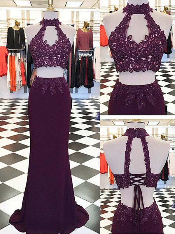 Graceful Sheath Halter Cut Chiffon Long Two Piece Dresses With Applique