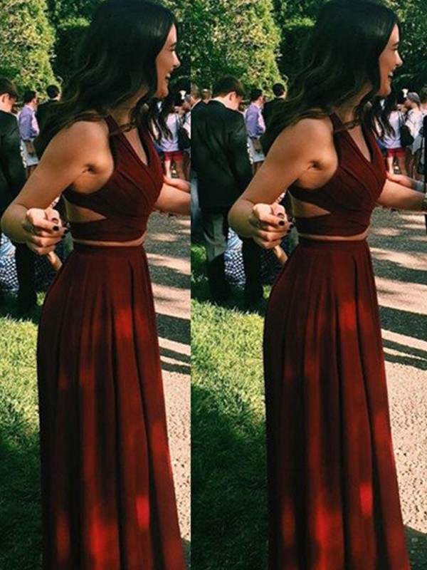 Charming A-Line Halter Cut Chiffon Long Two Piece Dresses With Ruffles