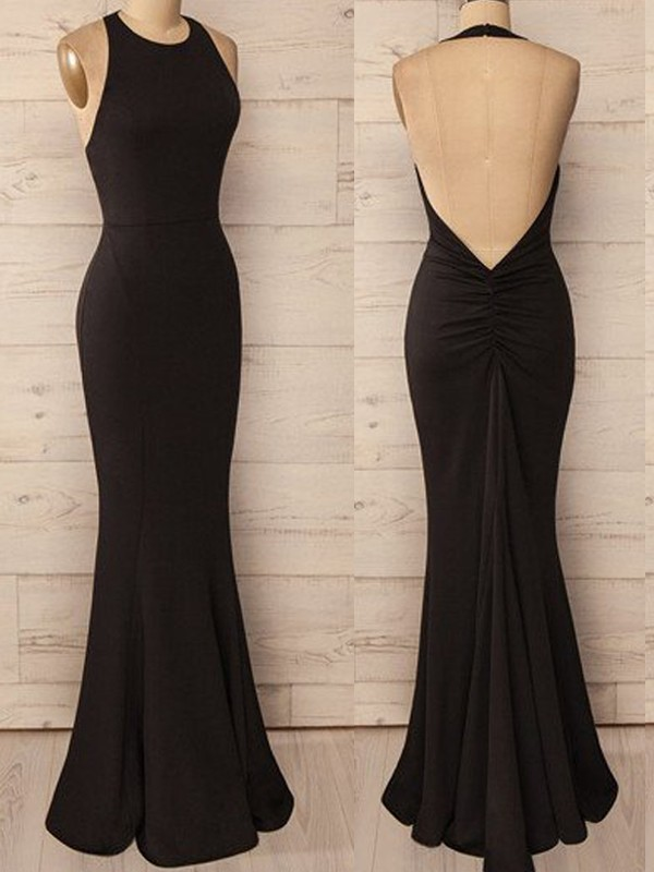 Popular Mermaid Halter Cut Spandex Long Dresses With Ruffles